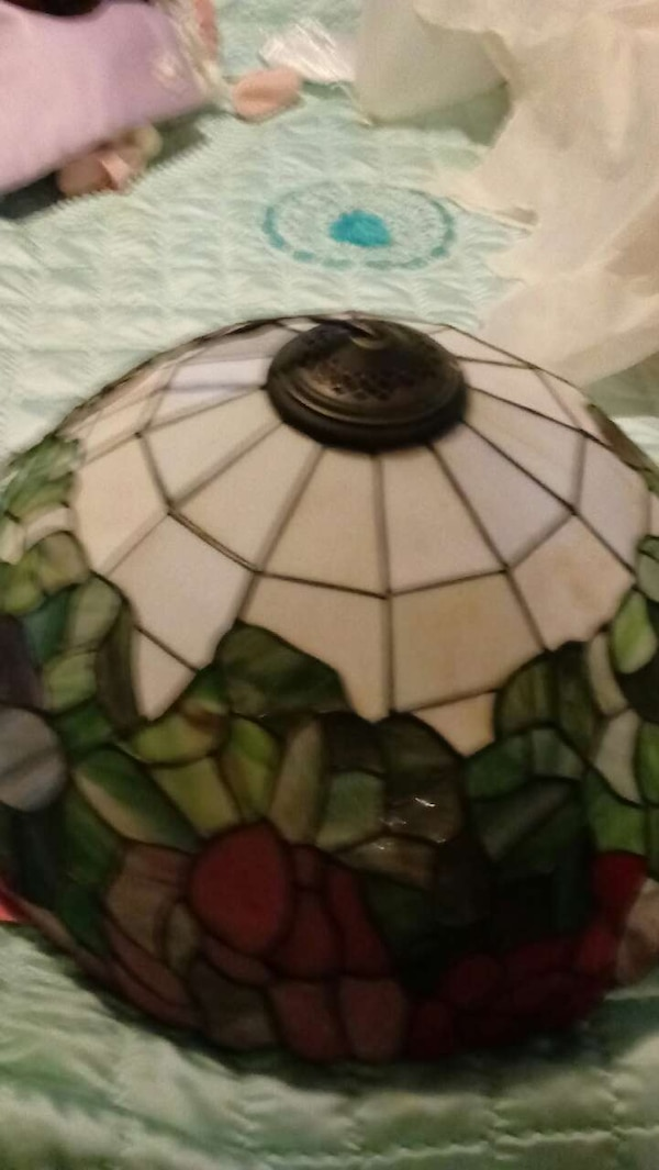 white, red, and green tiffany-style lampshade