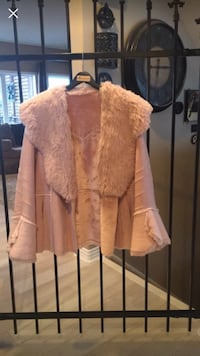 Women's dusty rose faux suede coat.