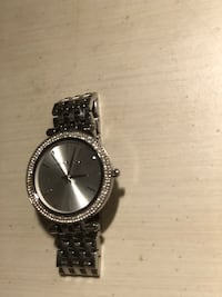 MICHAEL KORS WATCH round silver analog watch with silver link bracelet Selden, 11784