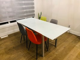 Dining Table Tempered Glass with Metal legs