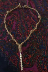 Pearl and twine necklace- handmade by local artist North Charleston, 29405