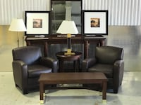 Leather Hard Wood Living Room / Office Set