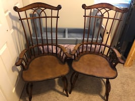 Incredible Mahogany Armchairs W/ Leather Seats & Accents!
