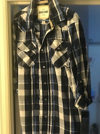 black and white plaid button-up shirt Lafayette, 70503