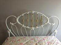 White iron and brass full double headboard bed frame Chagrin Falls, 44022