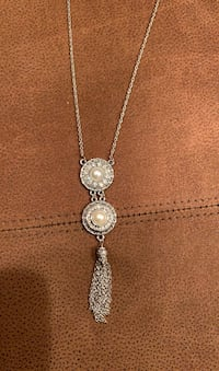Ginger Snaps Silver Dual Pearl Necklace with metal tassels and gems