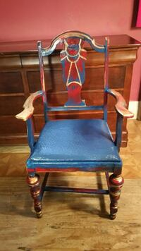 Antique Hand Painted Blue Red Gold Arm Rest Wood Chair Pittston