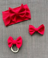 Ruby red baby bows