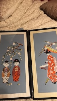 Two geisha framed painting