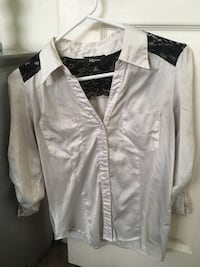 white button-up long-sleeved shirt