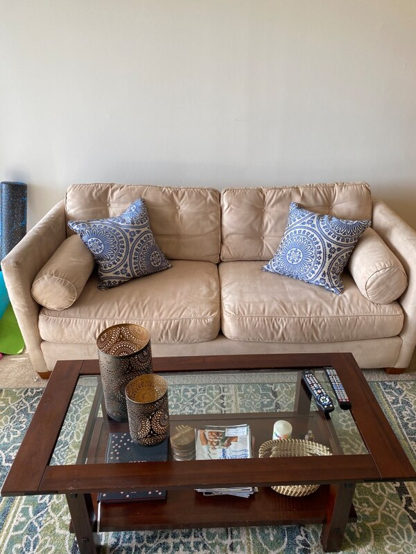 Super comfy suede sofa and chair with ottoman d0530400-e943-42c6-96c2-75156ae2356a