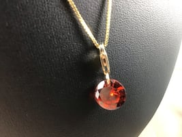New 1/20 14K Gold Filled Bracelet Charm with Ruby Red Cubic Zirconia