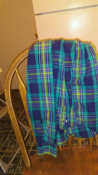 blue, teal, and yellow plaid textile