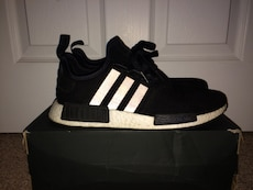 white-and-black Adidas NMD with box