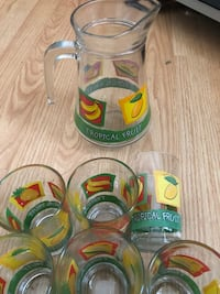 Tropical fruit pitcher with 6 glasses Chestermere, T1X 1H2