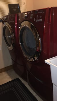 Maytag red and silver dryer and washer with 2 drawer clean and looks brand new we need to sell cause we're moving