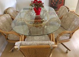 7 Piece Tommy Bahama Rattan Dining Room Set - 6 Swivel Chairs