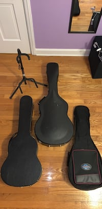 3 guitars with cases and two stands Orange, 06477