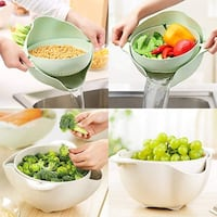 Practical Double Layered Hollow Kitchen Draining Basket Vegetable Palm Coast