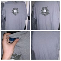 men's grey with skull symbol on middle front on t-shirt