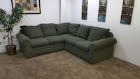 #651- $50 down- Green Chenille Sectional Sofa