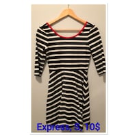 white and black striped long-sleeved scoop-neck dress Calgary, T2Z 4C8