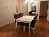Dining set (extendable table white, 4 dining chairs white and purple)