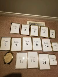 Gold frames, Gold table numbers 1-15 Picture frame Innisfil, L9S 0B5