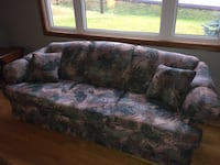 Brown and green floral 3-seat sofa