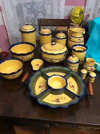 Home and garden Stoneware collection. Whole set minus 2 mixing bowls. All for $100. Includes Creamer dish and sugar bowl $10 Spoon holder for stove $5 Tall pitcher $20 Bean pot $20 Cool dipper $15 2 piece mixing bowls $20 SOLD  6 piece divided serving tra Parkersburg, 26101