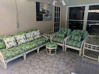 Vintage 10-piece cane patio set newly upholstered Los Angeles, 91401