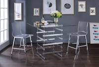 SLICK 3pc Clear & Chrom Counter Height DIning set SALE No CreditNeeded Essex