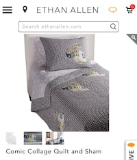 Brand New Ethan Allen Mickey Twin Quilt, Sham and Pillow 237 mi