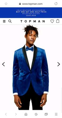 Blue Skinny Fit Single Breasted Velvet Blazer With Satin Covered Shawl