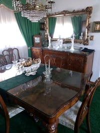 Dining room set with 6 chairs buffet and china