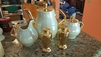white ceramic tea set and gold-colored ceramic condiment shaker set New Port Richey, 34654
