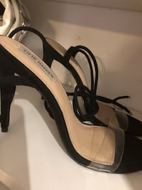 white and black leather open toe ankle strap heels Richmond Hill, L4S 2G4