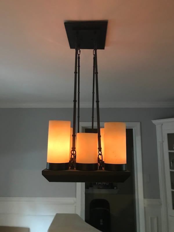 Rustic chandeliers with faux candles shades 8e83c3c0-d083-4d75-929d-616b98eb131e