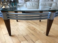 Oblong brown and gray wooden base glass-top center table Longueuil, J4L 4S8