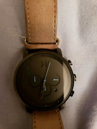 round black chronograph watch with brown leather  Fairfax, 22035