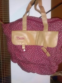 women's brown and red leather Malibu tote bag