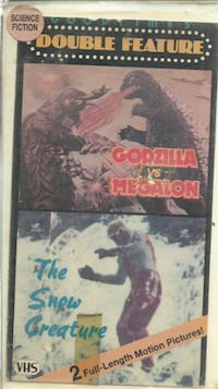 GODZILLA VS. MEGALON / THE SNOW CREATURE Double Feature VHS Tape Sci-fi Monsters previous rental original box cut and remounted on a clamshell case  Pick-up in Newmarket (ref bx # 2 apps only) Newmarket