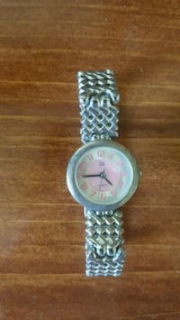 round silver analog watch with silver link bracelet Port Hope, L1A 2M4