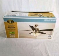 Hampton Bay Rockport 52 in. LED Brushed Nickel Ceiling Fan with Light  Arlington Heights