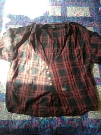 William rast black and red plaided shirt