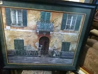brown wooden framed painting of house 1953 mi