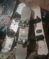 4 good snowboards and boots $80