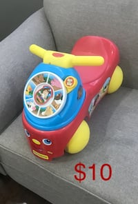 blue and red ride-on toy