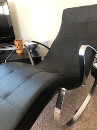 Black eco friendly leather rocking chaise with chrome frame. Good condition. Vegan leather. Contemporary in design. Los Angeles, 91411