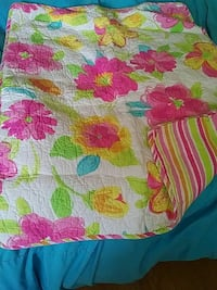 Reversible twin quilt with sham. Like new!